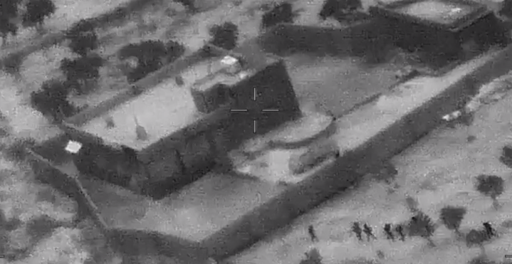 Aerial shot of US Special operations forces Al Baghdadi raid